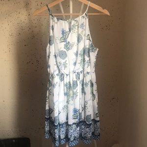 White and Blue Paisley Printed Dress